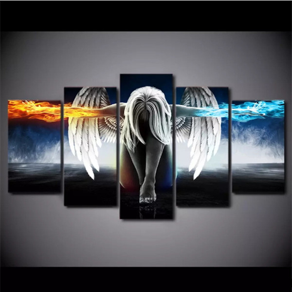 5 Pieces/set Oil Painting Angel Demons Wing Printed Canvas Anime Room Printing Poster Wall Art Print Decoration Decorative Picture Decor