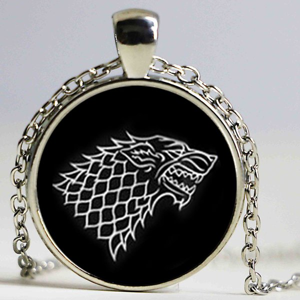 Free Shipping glass necklace Game of Thrones necklace House of Stark necklace men necklace high quality