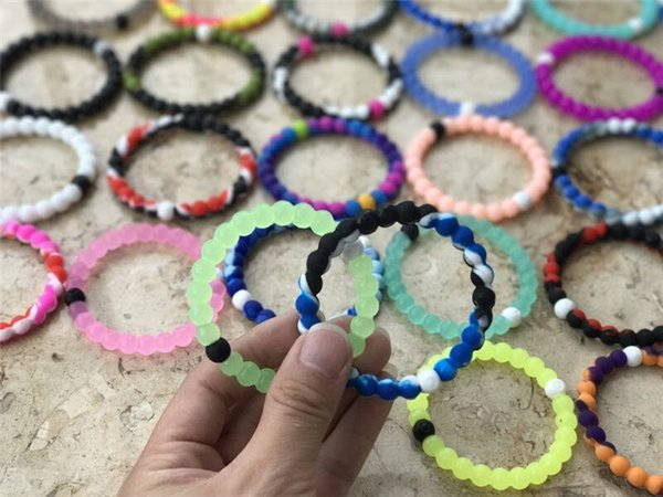 50pcs 56 colors silicone balance bracelet S/M/L/XL silicone bands with tag opp bag R019