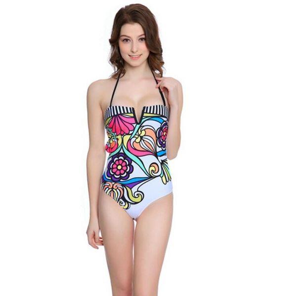 Çiçek Baskı Cut Out Halter Tek Parça Mayolar Kadınlar Backless Bandeau Mayo Mayo Brezilyalı Monokini Bodysuit