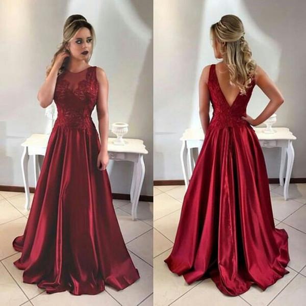 Compre Venta Caliente Borgoña Vestidos De Noche Largos Una Línea Sexy Espalda Abierta Modesto Ilusión De Encaje Vestidos De Alfombra Roja Vestidos De