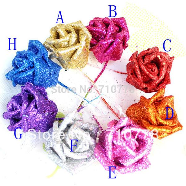 Gros-100 PCS 8 couleur sartificial pe paillettes rose poudre d'or rose avec tige bricolage arc de mariage fleur boule bouquet décoration