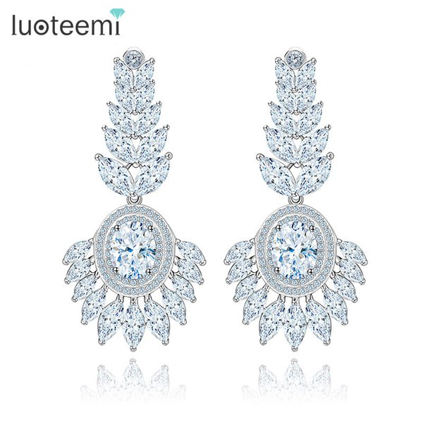 LUOTEEMI New Arrival Big Flower Crystal Drop Earrings Fashion Jewelry Elegant Statement Earrings for Bridal Wedding Brincos