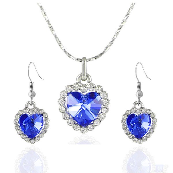 best selling Sapphire Ruby Jewelry Sets Charms Crystal Pendant Necklace Heart of The Ocean Jewelry Set for Women Rhinestone Earrings Titanic Jewelry