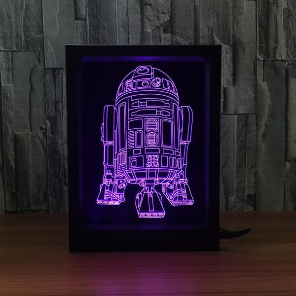 R2D2 Lampada 3D LED Photo Frame Decorazione Lampada IR Remote 7 RGB Luci DC 5V Fabbrica Drop Shipping Scatola regalo colore