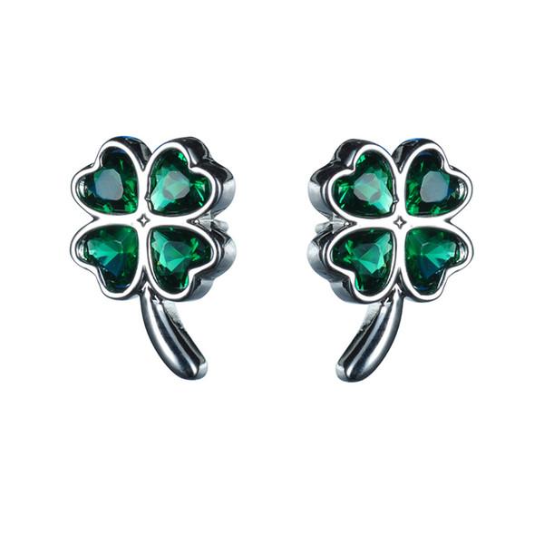 top popular KIVN Fashion Jewelry Lucky Four Leaf Clovers Shamrock Green CZ Cubic Zirconia Earrings for Women Mother day 2019
