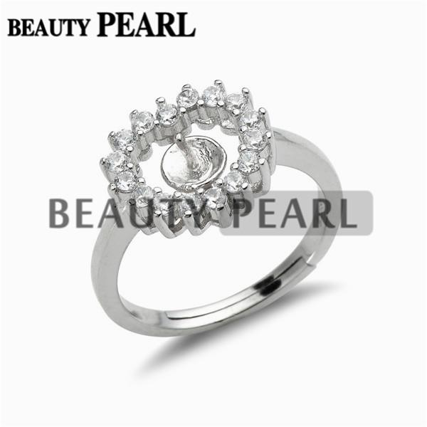 Pearl Ring Settings Cubic Zirconia Adorned 925 Sterling Silver Finding Heart Pearl Ring Mount 5 Pieces