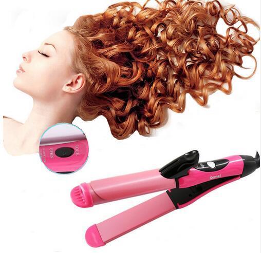 Kemei 2-in-1 Hair Straightening Brush Fer Boucler Cheveux Ceramic Coating Panel Automatic Curling Iron Magic Hair Sticks KM-1055