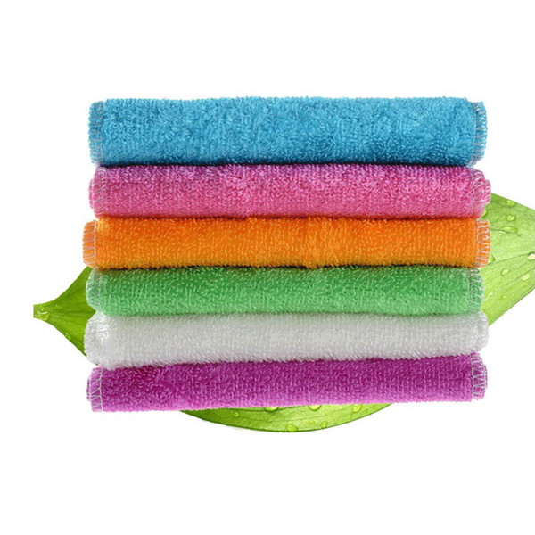 High Efficient Anti-grease Dish Cloth Bamboo Fiber Washing Towel Magic Kitchen Cleaning Wiping Rag Free Shipping S201774