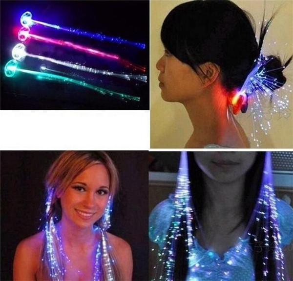 Lumineuse Lumière Up Extension de Cheveux LED Flash Braid Party fille Cheveux Lueur par fibre optique Pour La Fête De Noël Halloween Veilleuses Décoration