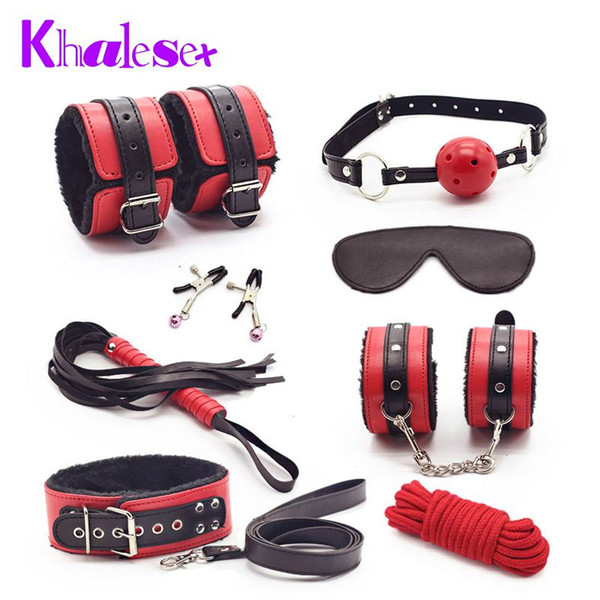 Sexy 8 Pcs/Set Kit Fetish Leather Sex Bondage Red Sex Toys for Couples,Nipple Clamps Foot Handcuff Ball Gag Whip Collar Eye Mask q4201