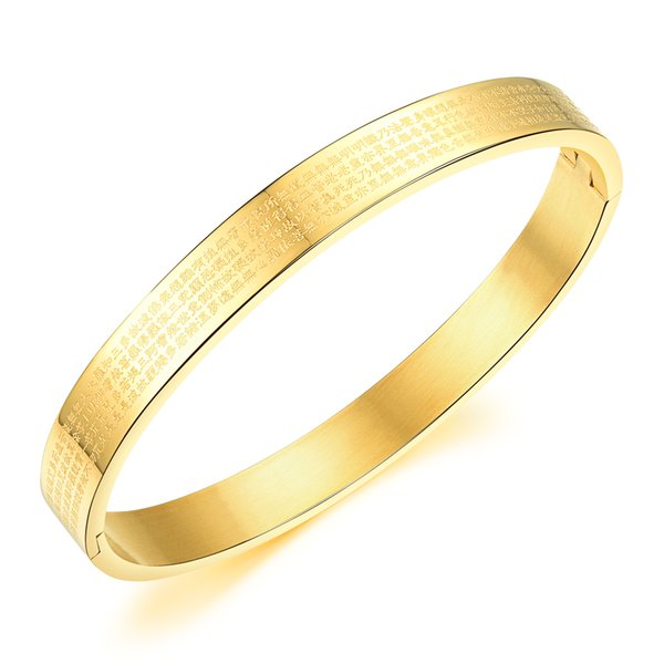 Silver / Gold Plated Bracelet Open Bangle Men Women Stainless Steel Sutra Religious Luck & Blessing Gift Jewelry LGH817