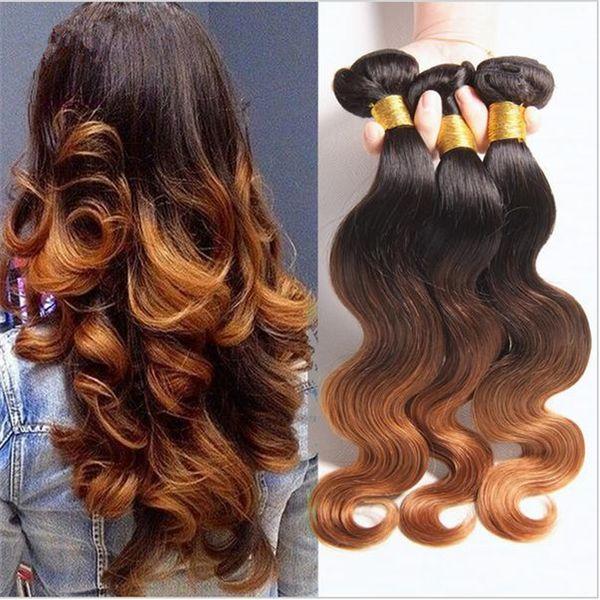 Bakire Brezilyalı Vücut Dalga Dalgalı Ombre Saç Atkı Uzatma # 1B / 4/30 Koyu Kökleri Üç Ton Renkli Insan Saçı Örgü Demetleri 3 Adet Lot
