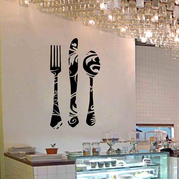 Fork Knife Spoon Stickers murali Cucina Bakery Store Window Glass ...