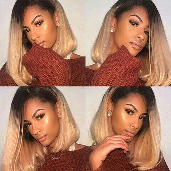 Two Tone T1b 27 Ombre Lace Front Human Hair Wigs Cut Bob Brazilian Virgin Hair Glueless Full Lace Wigs For Black Women