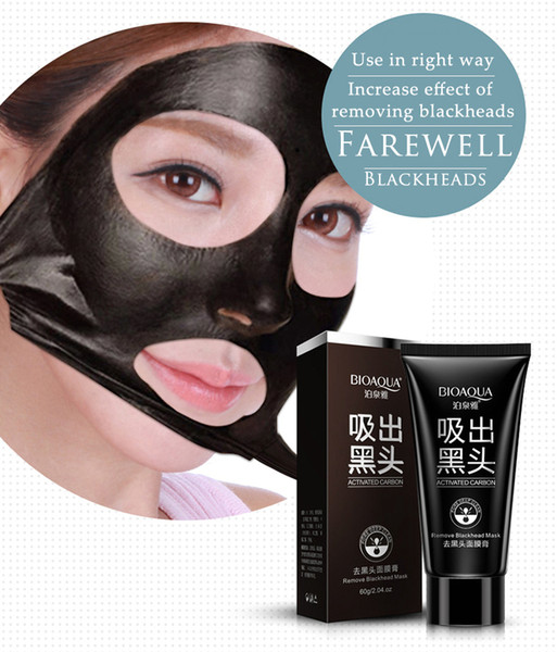 top popular BIOAQUA blackhead black Face mask Care Suction Black Mask Facial Mask Nose Blackhead Remover Peeling Peel Off Black Head Acne Treatments 500 2021