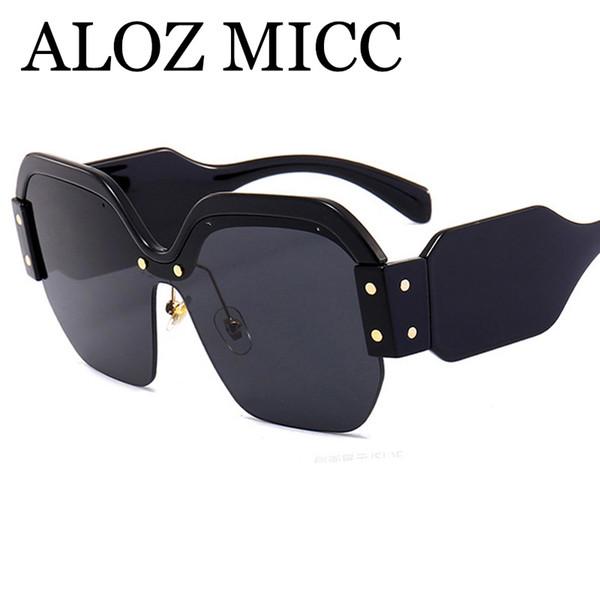 ALOZ MICC Luxury Women Brand Designer Popular Fashion Square Big Half Frame Sunglasses 2018 Men Hot Big Frame Luxury Sunglasses UV400 A379
