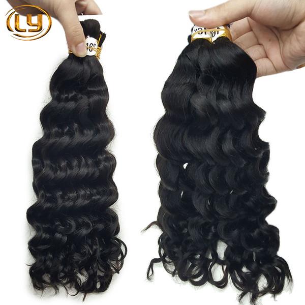 7A Deep Curly Wave Bulk Hair For Draiding No Attachment 3pcs Lot Deep Curly Brazilian Human Braiding Hair Bulk Braiding Hair