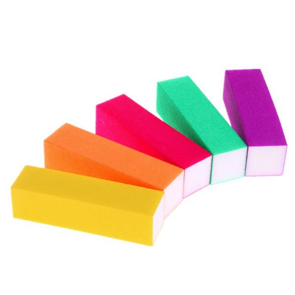 Wholesale- 5 Pcs/set Nail Art Sand Buffer Block Sponge Fluorescent Color French Acrylic Nails Tips File Sanding Polishing Pro Manicure Tool