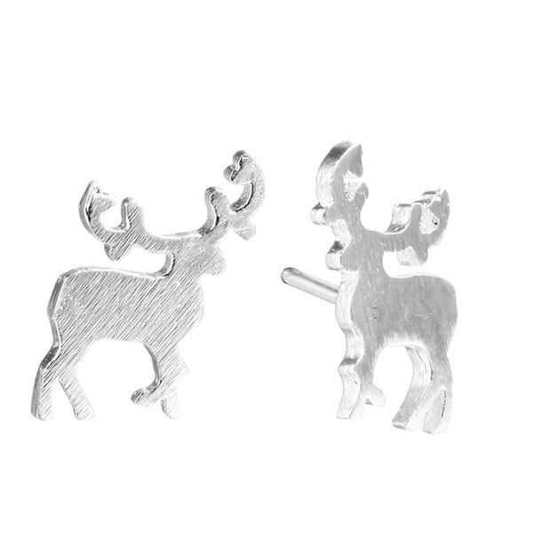 5 pairs/lot Bijoux 925 Sterling Silver Animal Jewelry Women Lovely Sika Deer Stud Earrings Party Dress Punk Statement Earrings