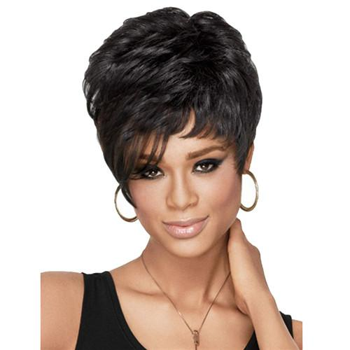 Cheap Wig Short Curly Fluffy Bob Synthetic Hair Black Wigs Full Bang Wig for Women Synthetic Wigs