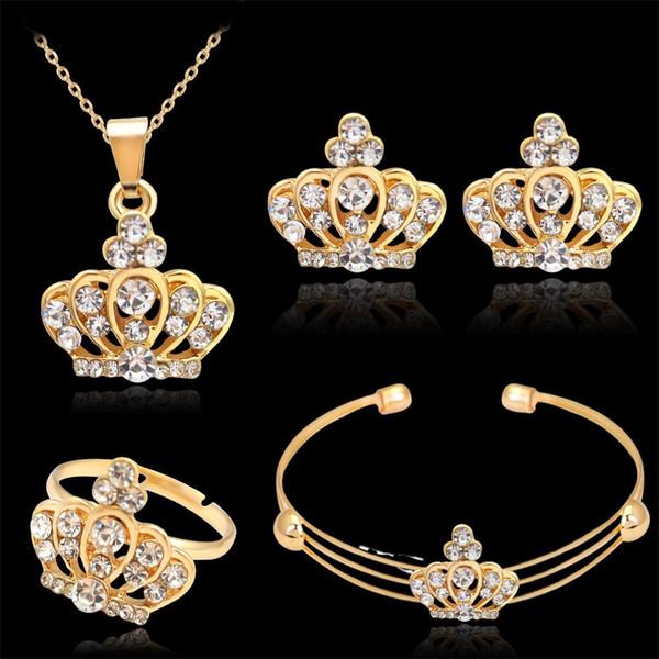 4pcs conjunto de jóias 18k ouro preenchido coroa de cristal austríaco colar de pingente + brincos + pulseira + conjunto de jóias anel para casamento