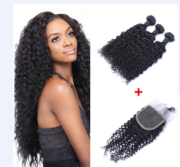 Brazilian Jerry Curly Human Virgin Hair Weaves With 4x4 Lace Closure Bleached Knots 100g/pc Natural Color Double Wefts Hair Extensions