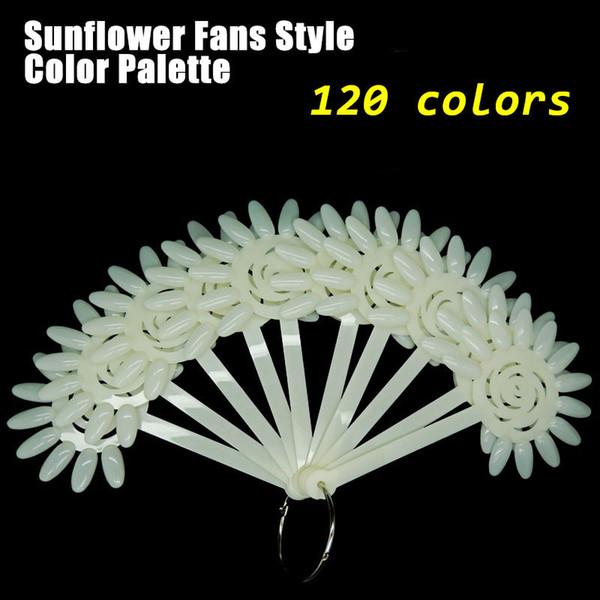 Wholesale- Free Shipping 120 False Tips Nail Art Design Acrylic Polish Board Practice Rose Fan Stickers Wheel Display Polish Color Tools