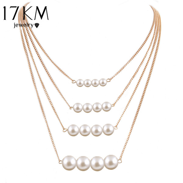 Wholesale- 17KM Trendy Multilayer Link Chain Necklace Alloy Gold Color simulated Pearl Necklace Summer Fashion Jewelry Body Chain Women