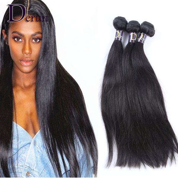 Peruivan Indio de Malasia Paquetes brasileños del pelo armadura del pelo humano recto sin procesar 3pcs Extensiones de cabello Dyeable Doble trama