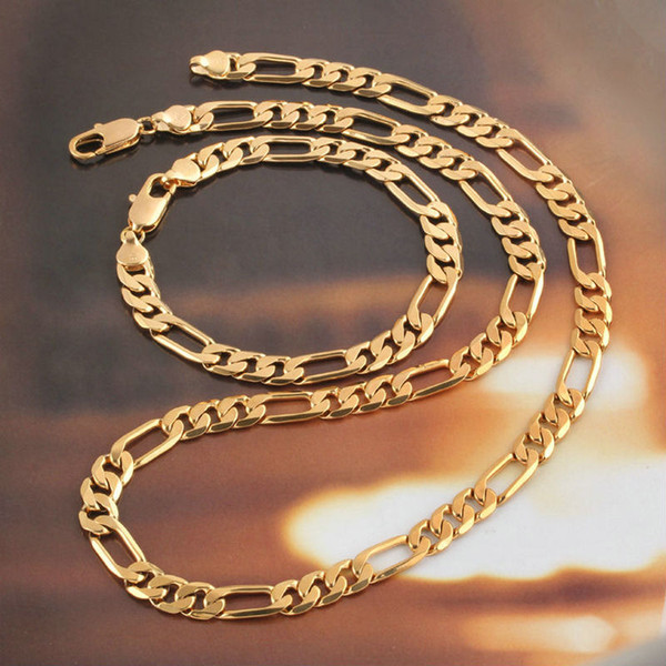 Mens Womens Jewelry 18k Yellow Gold Filled Necklace Bracelet Set Figaro Curb Chain Set