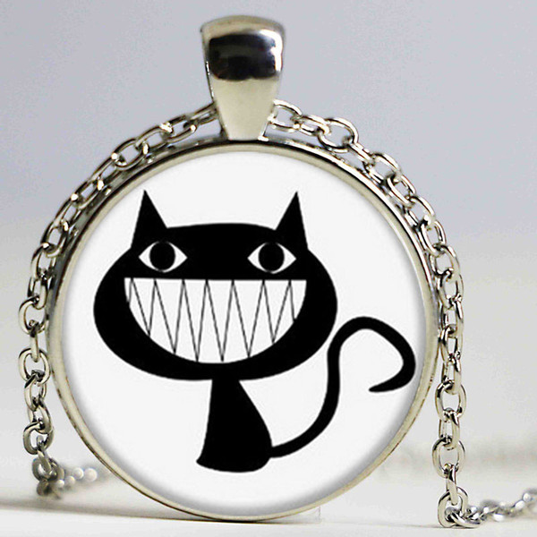 lot Grinning Cat necklace smile cat necklace glass Photo Cat Jewelry necklace