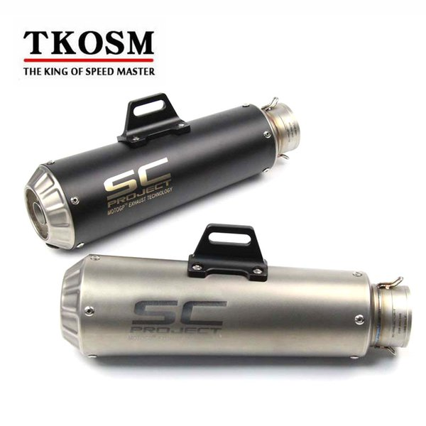 TKOSM 60mm Laser SC Universal Modified Motorcycle Scooter Motocross Exhaust Muffler Dirt Bike Exhaust For Yamaha YZF R1 R6 Z800 KTM390