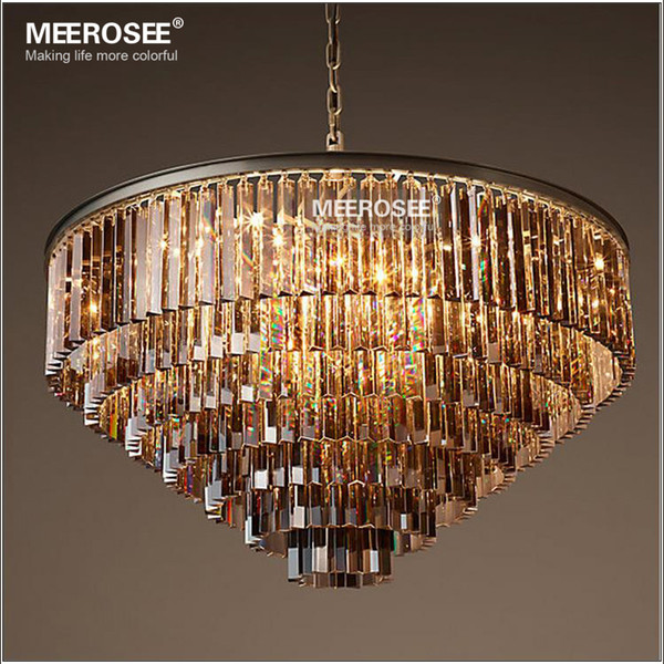 Modern Crystal Chandelier Elegant K9 22mm size Article crystal Smoky Gray Crystal Suspension Lamparas for Cafe Restaurant Hotel MD2949B