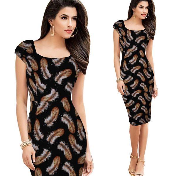 Vintage OL Dress for Women Office Dresses Cap Sleeve Feather Print Contrast Color Pencil Dresses Fashion