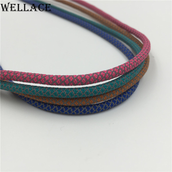 2pairs Wellace factory shoelaces custom Round rope lace 3M reflective shoe laces for sneakers 120cm