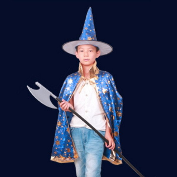 Halloween Cloak Cap Fancy Christmas Decoration Gift Dress Costumes Witch Wizard Hats Cosplay Prop for Children Costume Cape Kids Party