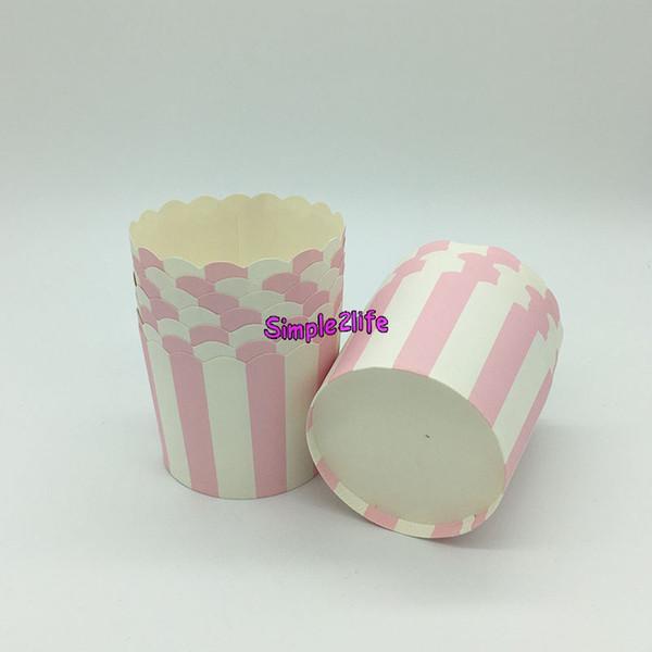 Round Stripe Paper Cupcake Cases Molde para hornear moldes para pasteles Molde para molde de la torta Molde para banquetes de cumpleaños