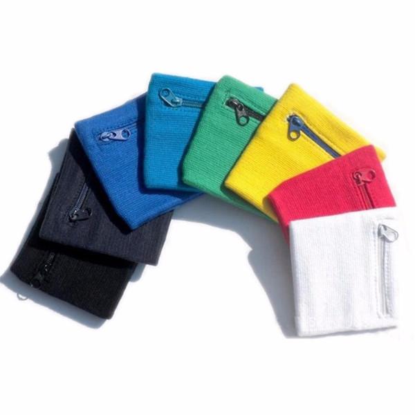 Wholesale- Zip Wrist Support Brace Zip Wallet Running Cycling Tennis Sports Wrist Guard Protector Money Coin Bag 2pcs