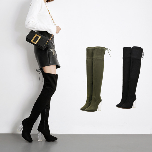 Euramerican Women Crystal Chunky Heels Pump Corduroy Flock Over-the-knee Stretch Boots 2017 Winter New Ladies Solid Long Boots Size Eu 35-40 buy cheap explore buy cheap order iJ4pCChM