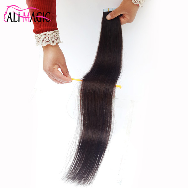 Band-Haar-Verlängerungen Remy PU-Haut-Schuss-Haar-Verlängerungen # 2 Dunkelbraun 18''20''22''inch Freies Verschiffen-preiswertes Großhandelsreales Haar