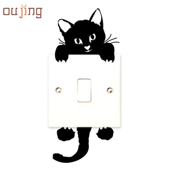 New hot Viny Cat Wall Stickers Light Switch Art Baby Nursery bedroom Decor freeshipping t6314