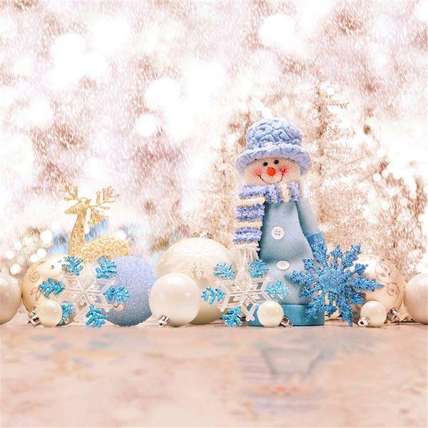 White Blue Snowflakes Bokeh Winter Snow Photography Backdrops Vinyl Fabric Elk Christmas Balls Snowman Kids Children Photo Studio Background
