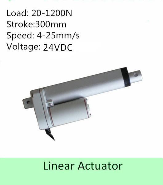 24VDC 12inch 300mm carrera 44lbs 200N 25mm / s IP 65 de poco ruido mini actuador lineal electrodomésticos uso