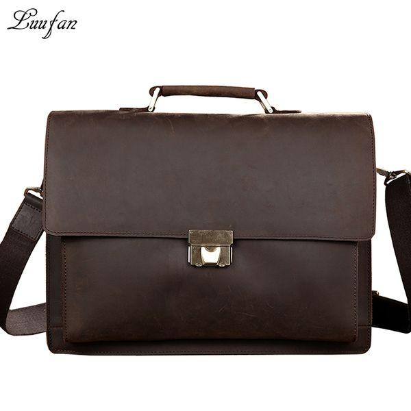Wholesale- Men's Genuine Leather briefcase with dial lock,15 inch Vintage Business bag,Cowhide Laptop Handbag,Mens Work tote fast post