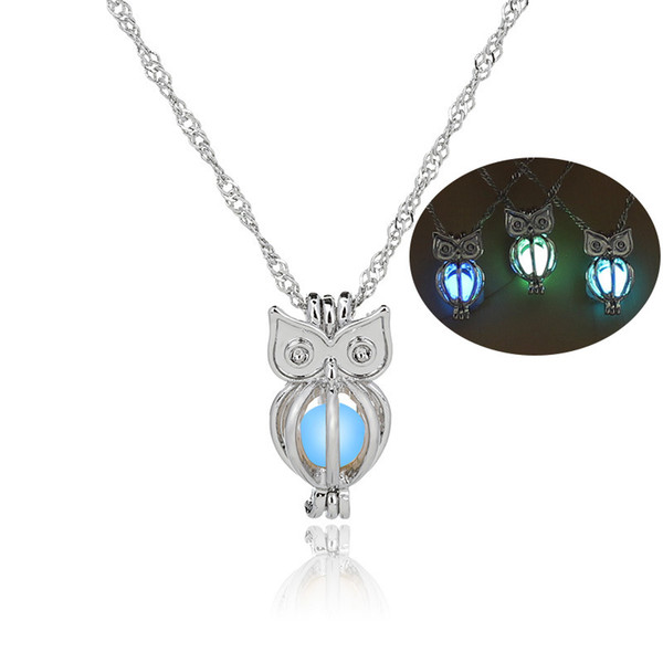 2017 glow in the dark owl necklace hollow pearl cages pendant luminous animal charm necklaces for women&ladies luxury fashion jewelry, Silver