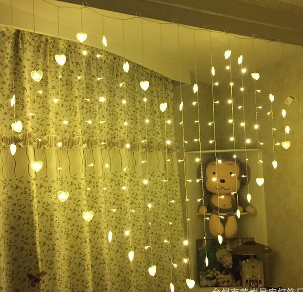 Acheter Nouvelle Arrivée 2M * 1.6M 128LEDs Mariage Led Lumières Rideau  Coeur Lampes Fairy Lumières De Noël Festival LED Jardin Dj Light Party  Lampes ...