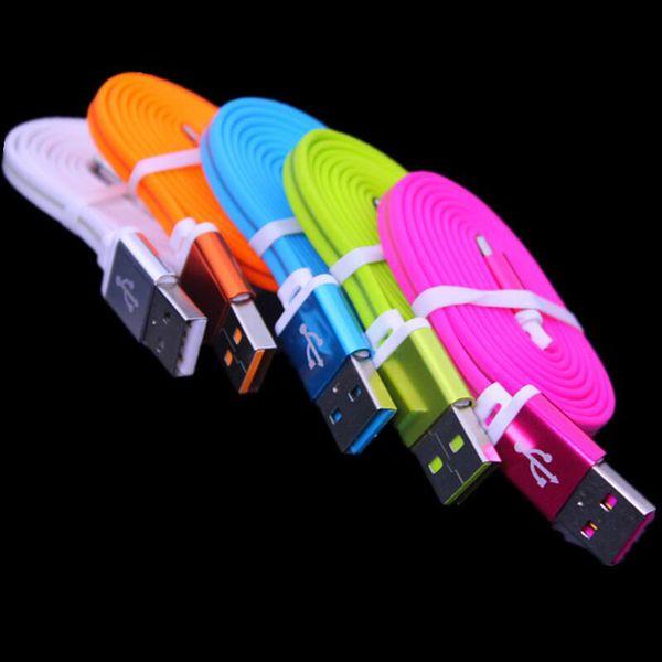 1m 2A Fast Charger Tpe Flat noodle Luminoso Fluorescenza a luce Micro cavo dati USB per smartphone Samsung