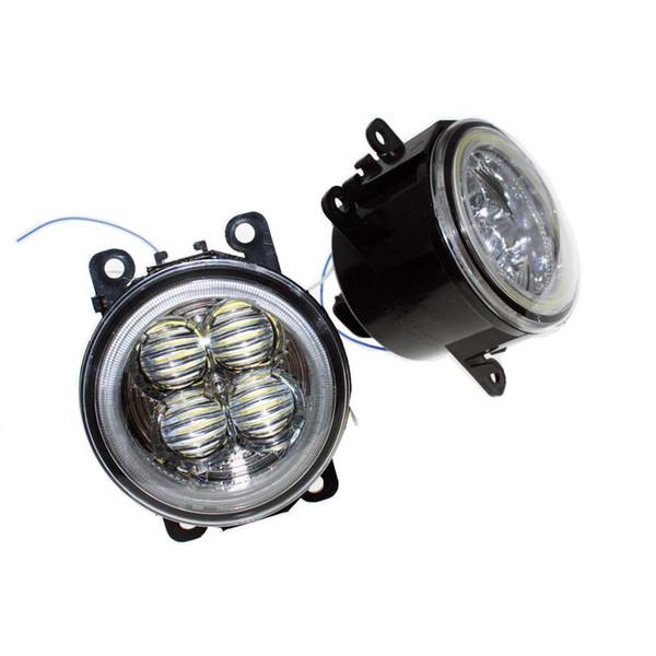 Para Honda Crosstour 2013-2014 Car Styling Bumper Angel Eyes LED Lámparas antiniebla DRL Luces antiniebla para conducción diurna Lente OCB
