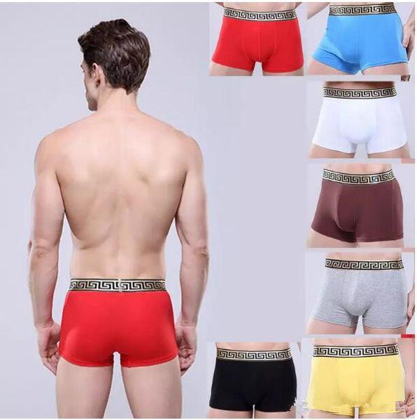 Fashion Men U Convex Design Breathable Underwear Gay Hollow Out Penis pocket Men Boxer Comfortable Modal Sexy Shorts Golden belt Underpants